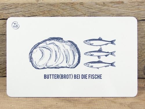 Lustiges Wichtelgeschenk F bis 10 Euro: Fruehstuecksbrettchen Butterbrot bei die Fische