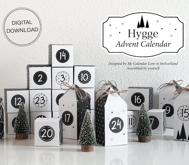 Hyggedorf Adventskalender zum Ausdrucken