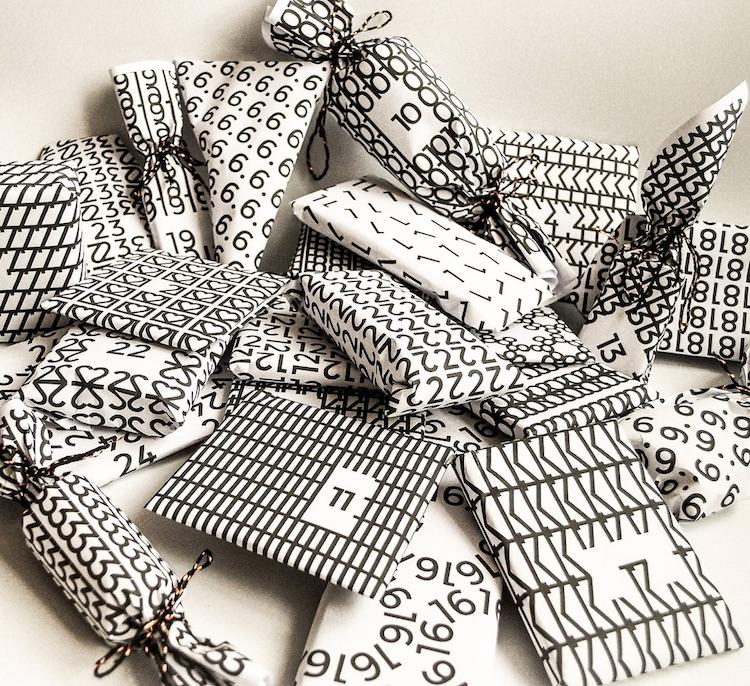 Typographisches Geschenkpapier zum Ausdrucken für einen DIY Adventskalender